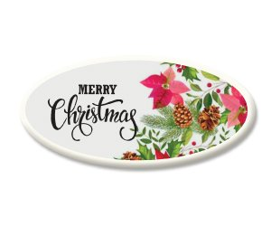 Merry Christmas Floral Sugar Plaques
